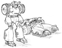 Character designs for video game mod of Unreal Tournament featuring robotic players that have an alternate vehicle mode