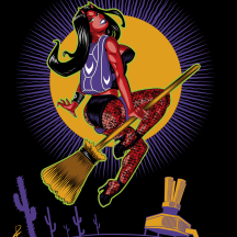 Poster and T-shirt illustration for the Skydive Arizona 2014 Halloween Carnivale