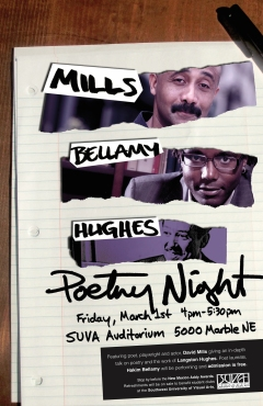 POETRY NIGHT: Poster and ad for an event featuring performances by New Mexico poet laureate Hakim Bellamy and poet, playwright and actor, David Mills giving an in-depth talk on poetry and the work of Langston Hughes.