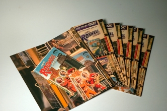 CITY OF ROSWELL BROCHURE AND SALES KIT: An informational brochure for visitors that doubled as a self-mailing sales kit. It was comprised of 4 by 9 inch pocket folder with a small booklet contained within.