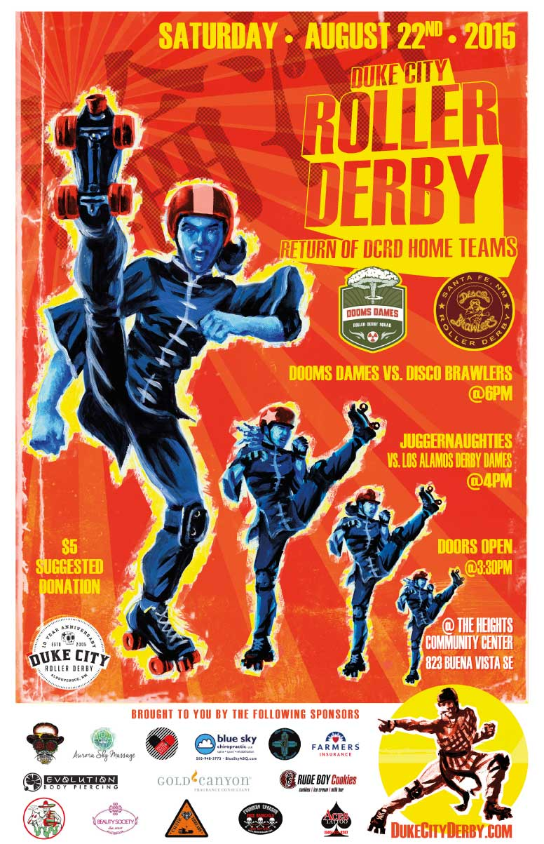Kung Fu inspired poster for the Duke City Roller Derby